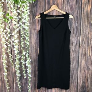 Talbots dress 8 solid black sleeveless v-neck work